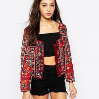 Mochi   Mochi Trophy Jacket with Mirror Embroidery at ASOS
