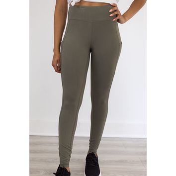 Pace Yourself Leggings - Olive