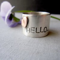60 DOLLAR SALE  Hello From the Heart Ring  by KellyBaldwinDesign