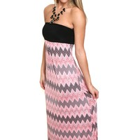 Pointed to Pink Chevron Maxi Dress