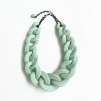 Mint Oversized Chain Necklace, Mint Chain Link Necklace, Mint Statement Necklace