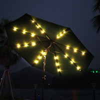 9 Feet Outdoor Market Aluminum Umbrella with Tilt and Crank and Solar Cell LED Light (Dark Green ** Base Not Included **