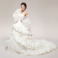 Non Traditional White Lace Victorian Gothic Corset Wedding Dress SKU-119007
