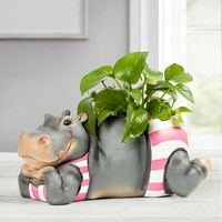 New country style hippo flower vase resin creative animal shape pots decorative storage box ornaments home hecoration