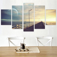 Canvas Painting Sunset Scenery Oil Painting Seting Sun Frameless Pictures Art Poster Wall Home Decoration for Room Wall 5pcs