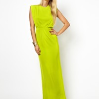 AQ AQ Butterfly Maxi Dress With Gathered Waist - Green