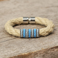 Ethnic rope jewelry, organic rope bracelet, blue forget me not gift for girlfriend