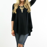 A Done Deal Black Flare Tunic Top 3/4 Sleeves