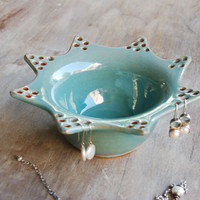 Stoneware Jewelry Bowl, Handmade Pottery Keramik Earring Organizer Rings, Bracelets, Watches, Necklaces Storage in Blue
