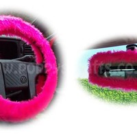 Barbie Pink fuzzy steering wheel cover with cute matching rear view mirror cover