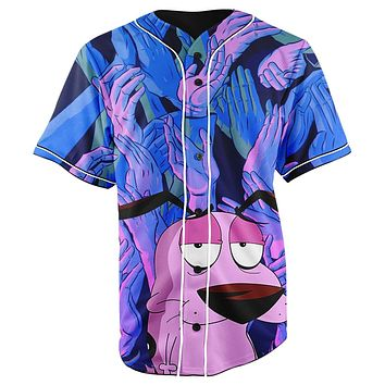 Courage The Cowardly Dog Button Up Baseball Jersey