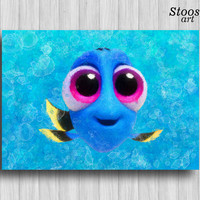 baby dory disney print nursery fishing decor finding dory finding nemo nursery wall art