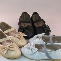 Girl Dress Flats w/Glitter  Bow Toddler Pageant Flower  Party Gold,Sliver,Black