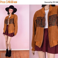 ON SALE 80s Faux Suede Tribal Bomber Jacket