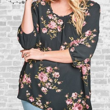 Tie Back Floral Blouse - Black - 3X only
