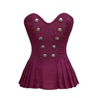 Pink Military Inspired Pleat Skirted Corset with Button Detail