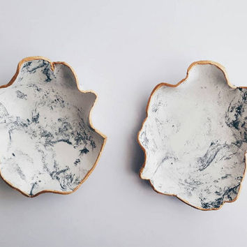 2 Marble Ring Dishes jewelry bowl black and white marble handmade ring plates golden edge ring dish jewelry storage gold painted unique