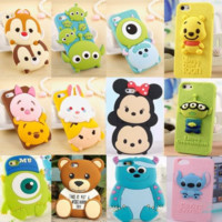 Cute 3D Cartoon Disney Silicone Rubber Soft Case for iPhone 6 6s Plus 5S