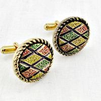 Vintage Colorful Mosaic Cuff-Links, Designer Sarah Coventry, Geometric Round Gold Floral Mens Cuff-Links, 1970s Mens Jewelry, Gift for Him