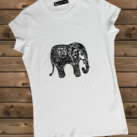 Women's Tshirt, Elephant on a Bike Ladies Tshirt,Screen Printing Tshirt,Women's Tshirt,White Tshirt,Size S, M, L