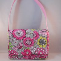 Gray and Pink Young Girls' Messenger Bag With Magnetic Snap Closure