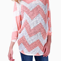 Peach-White-Knit-Chevron-Maternity-Top