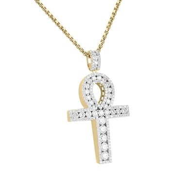 Solitaire Lab Diamonds Designer Ankh Cross Pendant