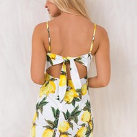 Lemon Peak Tie Back Mini Dress