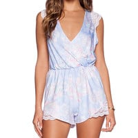OH MY LOVE Floral Playsuit in Blue