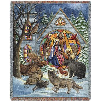 Snowfall Christmas Nativity Afghan Throw Blanket