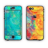 The Vibrant Colored Messy Painted Canvas Apple iPhone 6 Plus LifeProof Nuud Case Skin Set