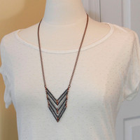 Long Chevron Necklace with Antique Copper Chain, Dark Grey and Crystal