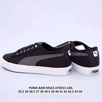 Puma flat bottom with comfortable stripes logo low toe shoes