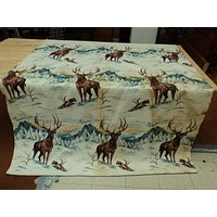 Designer Blanket Deer Images 72in x 88in Snow Wilderness Rustic Fleece Vintage -- Used