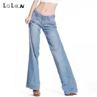 LOLEN Thin section Breathable And Comfortable Casual Wide Leg Jeans Women Loose Big Yards Pants