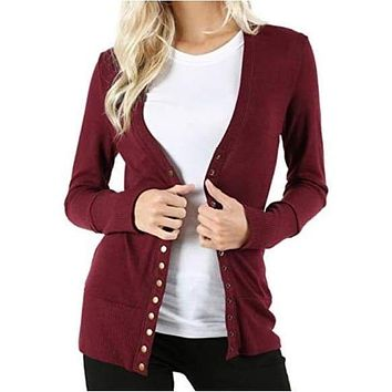 Maroon Red Snap Button Closure Cardigan