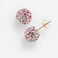Gold 'N' Ice 14k Gold Pink Crystal Ombre Ball Stud Earrings - Made with Swarovski Elements