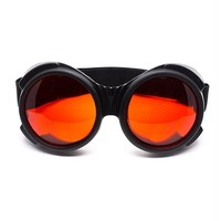 Flat Black Bugeye Cyber Goggles with Red Lenses | Cyber Rave Burner Goggles at RaveReady