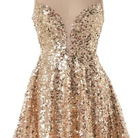 Priceless Moment Dress | Gold Sequin Fit & Flare Party Dresses | RicketyRack.com