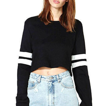 Striped Long Sleeve Cropped Tee