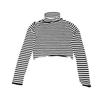 black + white striped turtle neck crop top 90s grunge cropped turtleneck sweater small
