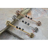 Rose Flower 14g Industrial Barbell
