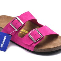 Men's and Women's BIRKENSTOCK sandals Arizona Soft Footbed Suede Leather 632632288-091