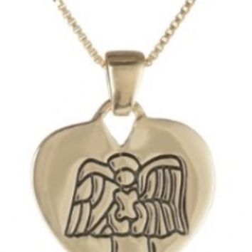 """Sterling Silver with Yellow Gold Flashed """"Guardian Angel Protect Me"""" Reversible Heart Pendant Necklace with Angel, 18"""""""
