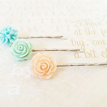 Flower Bobby Pins - Silver Bobby Pins - Mint Blue Floral Hair Accessory - Peach Flower - Pearl Bobby Pin - Curved Bobby Pins - Set of 3