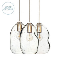 Hand Blown Seeded Glass Bubble 2-11 Pendant Light Chandelier