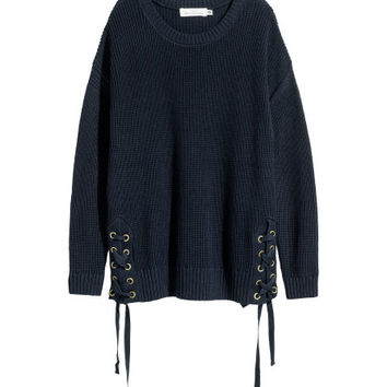 Knit Sweater with Lacing - from H&M