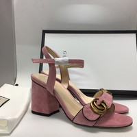 Gucci Women's Suede Leather Fashion High-heeled Sandals