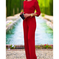 Stylish Three Quarte Sleeve Round Neck Backless Solid Color Women's Jumpsuit