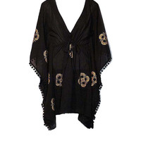 Black Poncho Top / Beach Cover Up with Drawstring Waist - Size Small